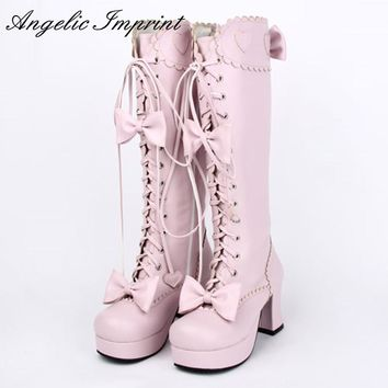 Japanese Sweet Lolita Cosplay Boots Princess Girl Lace Up Bowtie Chunky High Heel Martin Boots