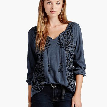 Lucky Brand Embroidered Peasant Top Womens