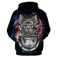 Space Cat Warrior Astronaut Rave Hoodie with Pockets