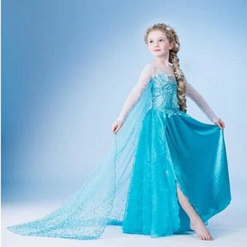 Fancy Baby Girls Christmas Halloween Party Lace Tutu Dress Cosplay Princess Clothes For Kid Girls Costume Blue Evening Prom Gown