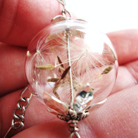 Dandelion Seed Glass Orb Necklace, Lucky You, Natural Botanical