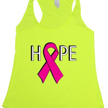 Women's HOPE Breast Cancer Awareness Tri Blend Tank NEON YELLOW
