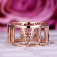Wedding Band Eternity Anniversary Ring 18K Rose Gold