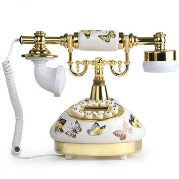 LNC White Butterfly Ceramic LNC Retro Vintage Antique Style Push Button Dial Desk Telephone Phone Home Living Room Decor