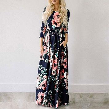 Floral Blue Long Dress