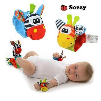 Rosiky Cartoon Baby Toys 0-12 Months Soft Animal Baby Rattles Infant Newborn Plush Sock Baby Toy Wrist Strap Baby Foot Socks