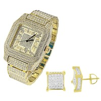 Men Hip Hop Iced Out Gold Tone Techno Pave Simulated Diamond Watch & Earring Set
