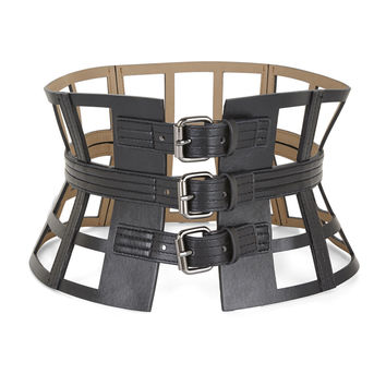 Black BCBG Grid Cutout Corset Waist Belt