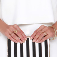 Lined by Design Ivory and Black Striped Clutch