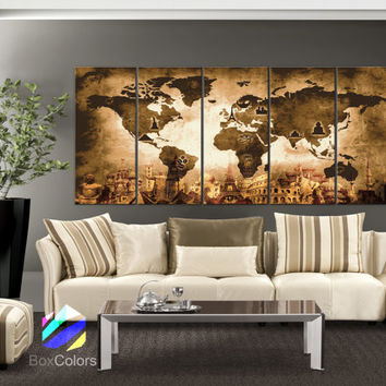 "XLARGE 30""x 70"" 5 Panels Art Canvas Print Original Wonders of the world Old Map Brown Yellow Wall decor Home interior (framed 1.5"" depth)"