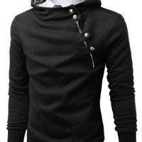Doublju Mens Hoodies with Unbalanced Button Zip up BLACK (US-XL)