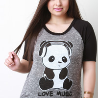 Love Music Panda Graphic Print Top