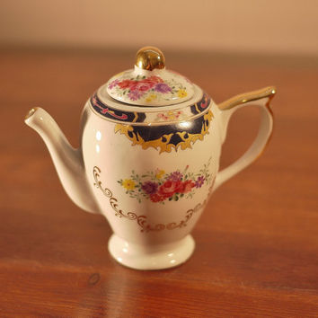 Vintage Miniature Teapot with Flowers and Gold Details