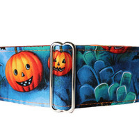 Halloween Martingale Collar, 2 Inch Martingale Collar, Pumpkin Martingale Collar, Halloween Dog Collar, Tombstone Martingale
