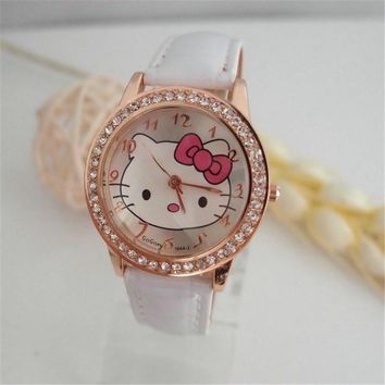 Hot Sales Gogoey Brand cute hello kitty watch children girls women crystal dress quartz wristwatch Kids Clock kt020