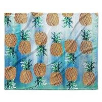 "Nikki Strange ""Pineapple Beach"" Blue Brown Fleece Throw Blanket"