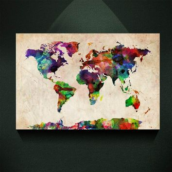 Vintage abstract watercolour map posters painting pictures print on the canvas,Home Wall art decoration retro world map canvas p