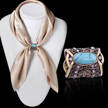 Newest Fashion Accessories Bohemia Vintage Bronze Silver Plated Turquoise Brooch Scarf Clip