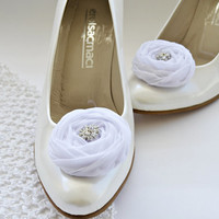 White Chiffon Roses Shoe Clips