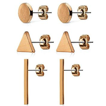 BodyJ4You 3-Pair Geometric Stud Earrings Brushed Finish Rose Goldtone Stainless Steel Ear Set Women and Mens