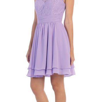 Starbox USA S6146 Sleeveless Bateau Neck Lace Bodice Short Bridesmaids Dress Lilac