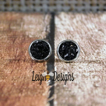 Black Faux Druzy Earrings, Stud Earrings, Faux Druzy Stud Earrings, Black Stud Earrings, Faux Druzy Earrings, Black Earrings