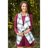 Cabin Weekend White And Black Plaid Vest