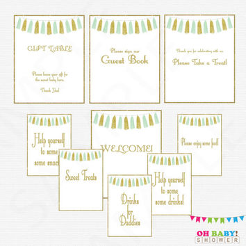 9 Baby Shower Signs, Mint Gold Baby Shower Table Signs, Welcome Sign, Guest Book Sign, Food Sign, Drinks for Daddies, Mint Baby Shower TASMG