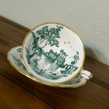 Antique Royal Chelsea castle ruins, green teacup, royal chelsea tea cup, wide rim teacup, green and white, English bone china