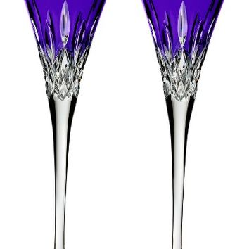 Waterford Lismore Pops Set of 2 Purple Lead Crystal Champagne Flutes | Nordstrom