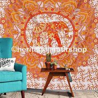 Elephant Ombre Mandala Tapestry Wall Hanging Hippie Bedspread Ethnic Decor Art