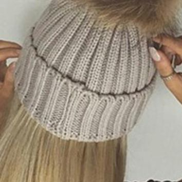 Big Chill Beige Removable Fur Pompom Rib Cuff Beanie Hat