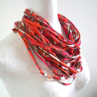 Tribal Infinity Scarf Necklace Spring Fashion Orange Hot Pink Upcycled Clothing Skinny Circle Scarf Eco Friendly Cowl Scarf