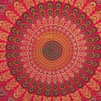 15% Off Queen Size Peacock Wall Hanging Psychedelic Chakra Meditation Mandala Beach Blanket Tapestry Bedspread Red QPK209