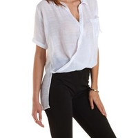 White Twisted Hem High-Low Collared Top by Charlotte Russe