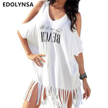 Swimsuit Cover Up 2018 Summer Pareo Beach Cover Up Tassel Swimwear Women Bathing Suit Cover Up Cotton Kaftan Beach Wear #Q366
