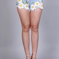 Coachella High Waist Daisy Shorts