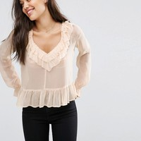 ASOS Pretty Blouse with Raw Edge Ruffle at asos.com