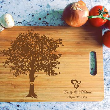 ikb509 Personalized Cutting Board Wood wooden wedding gift anniversary tree old first date