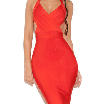 Sexy Cut V Neck Red Bandage Dress