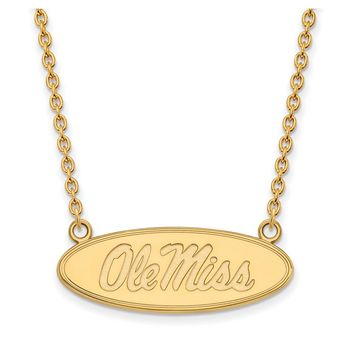 NCAA 14k Gold Plated Silver U of Mississippi Ole Miss Disc Necklace