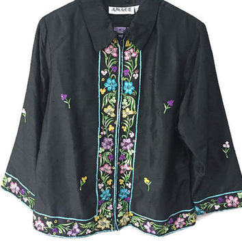 Embroidered Silk Jacket, Vintage India Raw Silk Embroidered Jacket Black Silk Boho Vintage Jacket Ethnic Bohemian 90s Jacket Zip Silk Blazer
