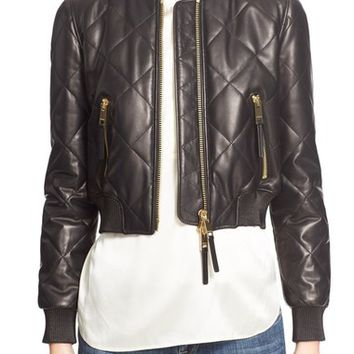Burberry Brit 'Stowleigh' Quilted Crop Leather Bomber Jacket | Nordstrom