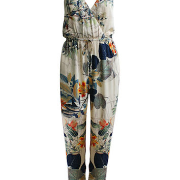 2015 Summer Style Women Tropical Leaf Prints Spaghetti Strap Wrap V-neck Cross Back Jumpsuit overalls