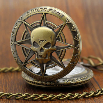 Vintage Hollow Skull Bronze Chain Pocket Watch