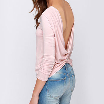 Long Sleeve Backless Ruched Top