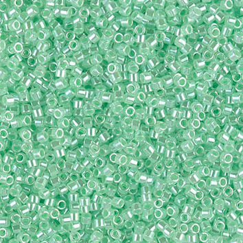 11/0 Delica Japanese Lined Crystal Lt Green Glass Beads