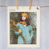 Vintage Wall Decor 'Gorse' 1980s Photographic Print, Winter Woman Knitting Scene Outdoors in Soft Duck Egg Blue & Mustard Gold Wall Decor