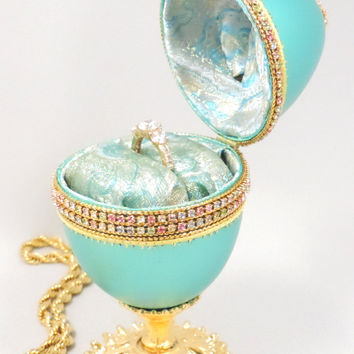 Turquoise Ring Holder Jeweled Wedding Ring Box Turquoise Keepsake Box Home Decor Faberge Style Decorated Goose Egg Art Ornament