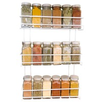 Evelots 3 Tier Wall Mounted Spice Rack, White